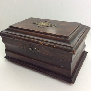 Vintage Wood Brass English Make Lock Box No Key